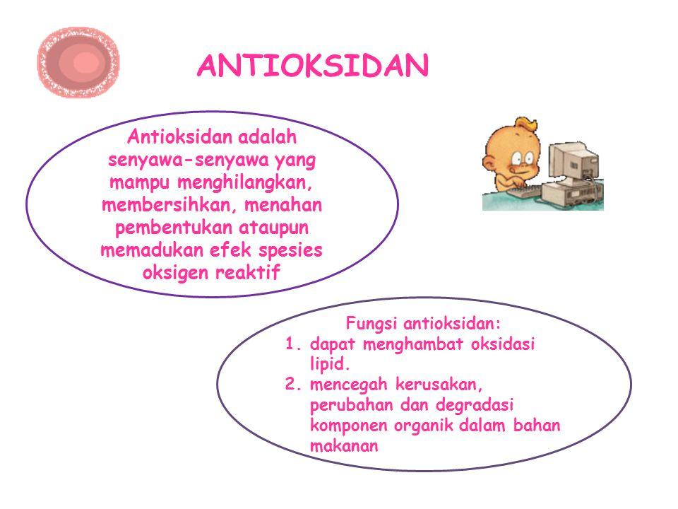 ANTIOKSIDAN Antioksidan adalah senyawa-senyawa yang mampu menghilangkan, membersihkan, menahan pembentukan ataupun memadukan efek spesies oksigen reak