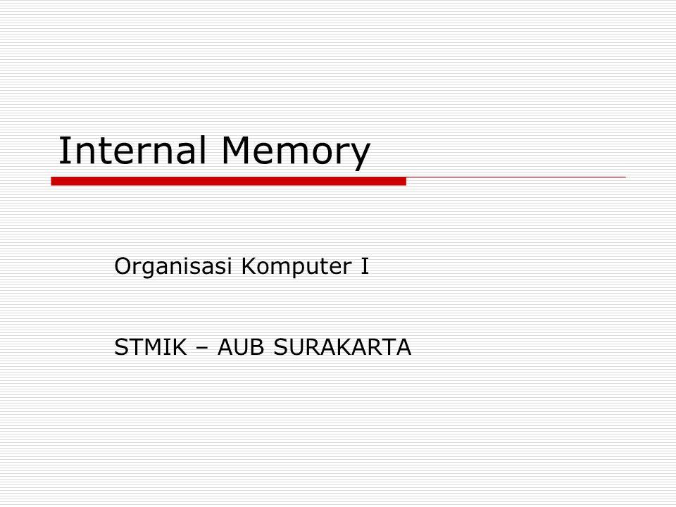 Internal Memory Organisasi Komputer I STMIK – AUB SURAKARTA