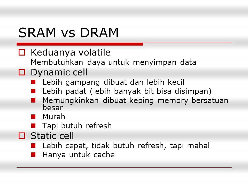 SRAM vs DRAM  Keduanya volatile Membutuhkan daya untuk menyimpan data  Dynamic cell Lebih gampang dibuat dan lebih kecil Lebih padat (lebih banyak b