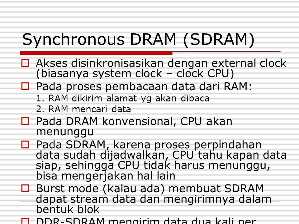 Synchronous DRAM (SDRAM)  Akses disinkronisasikan dengan external clock (biasanya system clock – clock CPU)  Pada proses pembacaan data dari RAM: 1.
