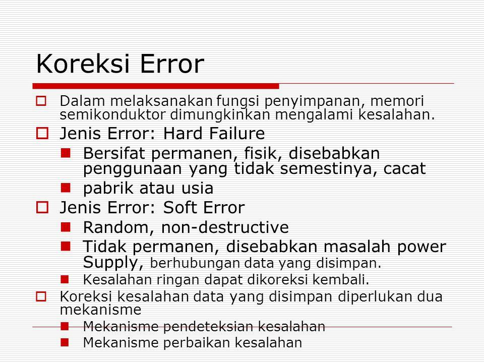 Koreksi Error  Dalam melaksanakan fungsi penyimpanan, memori semikonduktor dimungkinkan mengalami kesalahan.  Jenis Error: Hard Failure Bersifat per