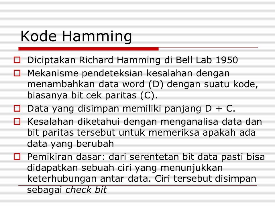 Kode Hamming  Diciptakan Richard Hamming di Bell Lab 1950  Mekanisme pendeteksian kesalahan dengan menambahkan data word (D) dengan suatu kode, bias