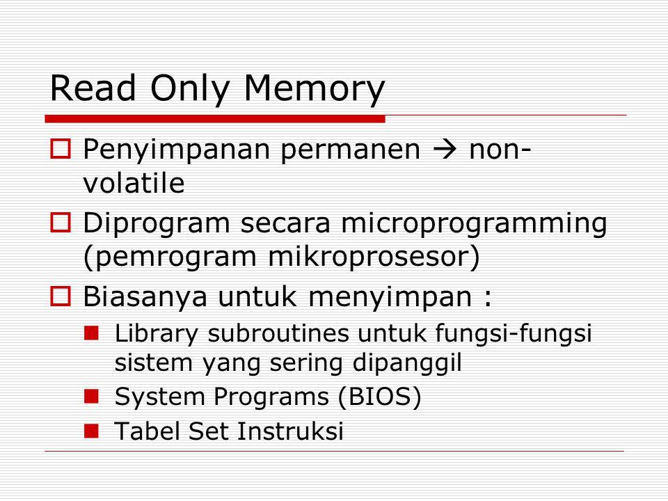 Read Only Memory  Penyimpanan permanen  non- volatile  Diprogram secara microprogramming (pemrogram mikroprosesor)  Biasanya untuk menyimpan : Lib