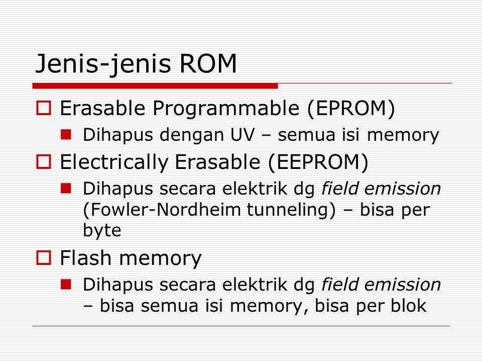 Jenis-jenis ROM  Erasable Programmable (EPROM) Dihapus dengan UV – semua isi memory  Electrically Erasable (EEPROM) Dihapus secara elektrik dg field