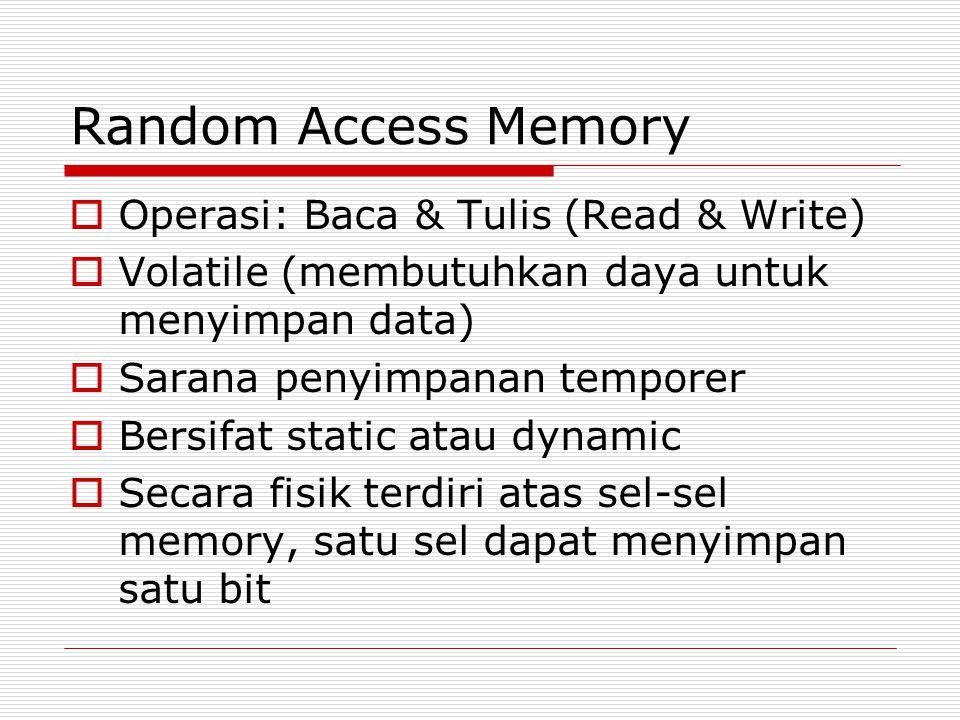 Random Access Memory  Operasi: Baca & Tulis (Read & Write)  Volatile (membutuhkan daya untuk menyimpan data)  Sarana penyimpanan temporer  Bersifa