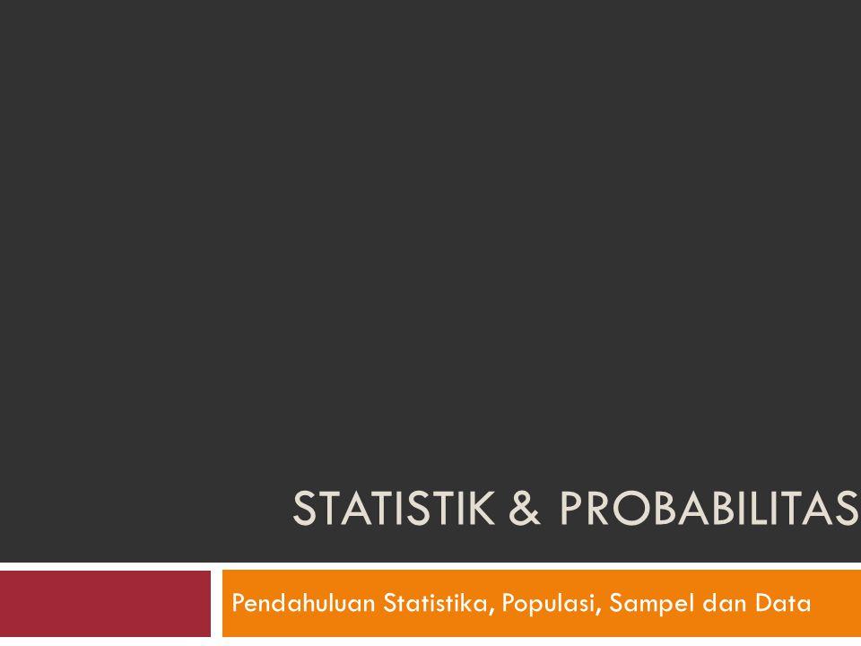 STATISTIK & PROBABILITAS Pendahuluan Statistika, Populasi, Sampel dan Data