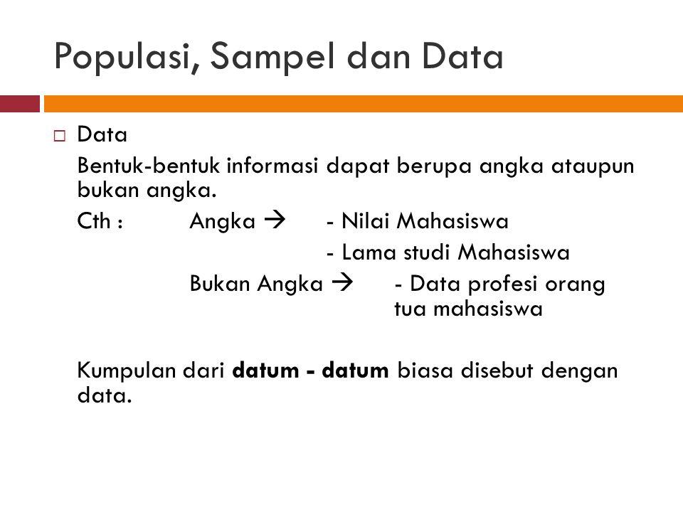 Populasi, Sampel dan Data  Data Bentuk-bentuk informasi dapat berupa angka ataupun bukan angka.