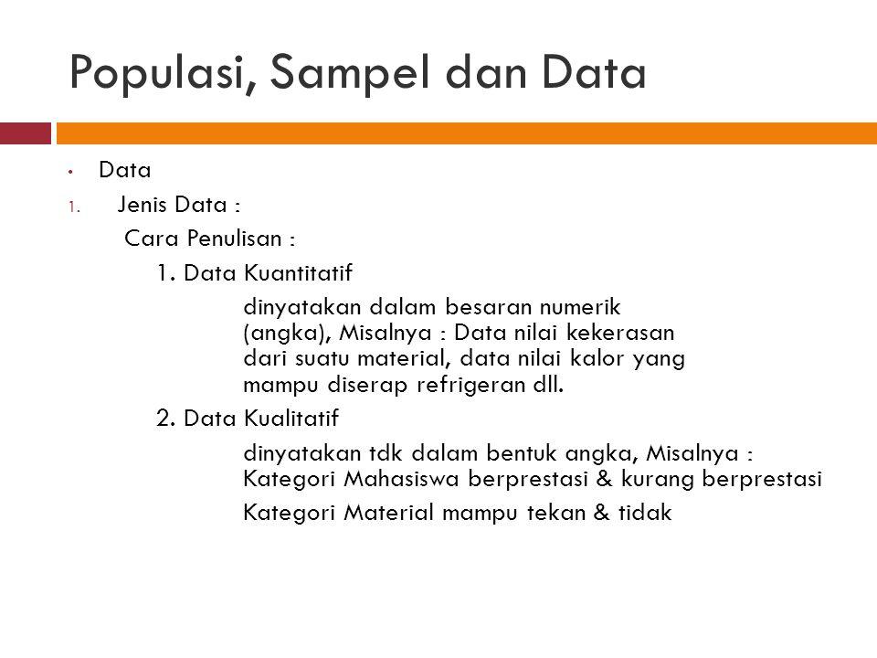 Populasi, Sampel dan Data Data 1.Jenis Data : Cara Penulisan : 1.