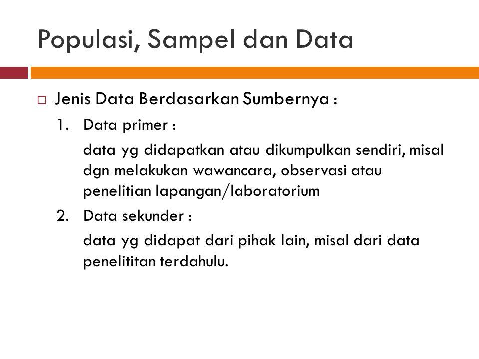 Populasi, Sampel dan Data  Jenis Data Berdasarkan Sumbernya : 1.