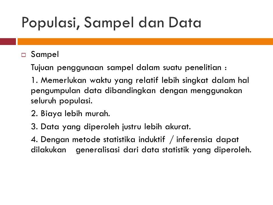 Populasi, Sampel dan Data  Sampel Tujuan penggunaan sampel dalam suatu penelitian : 1.
