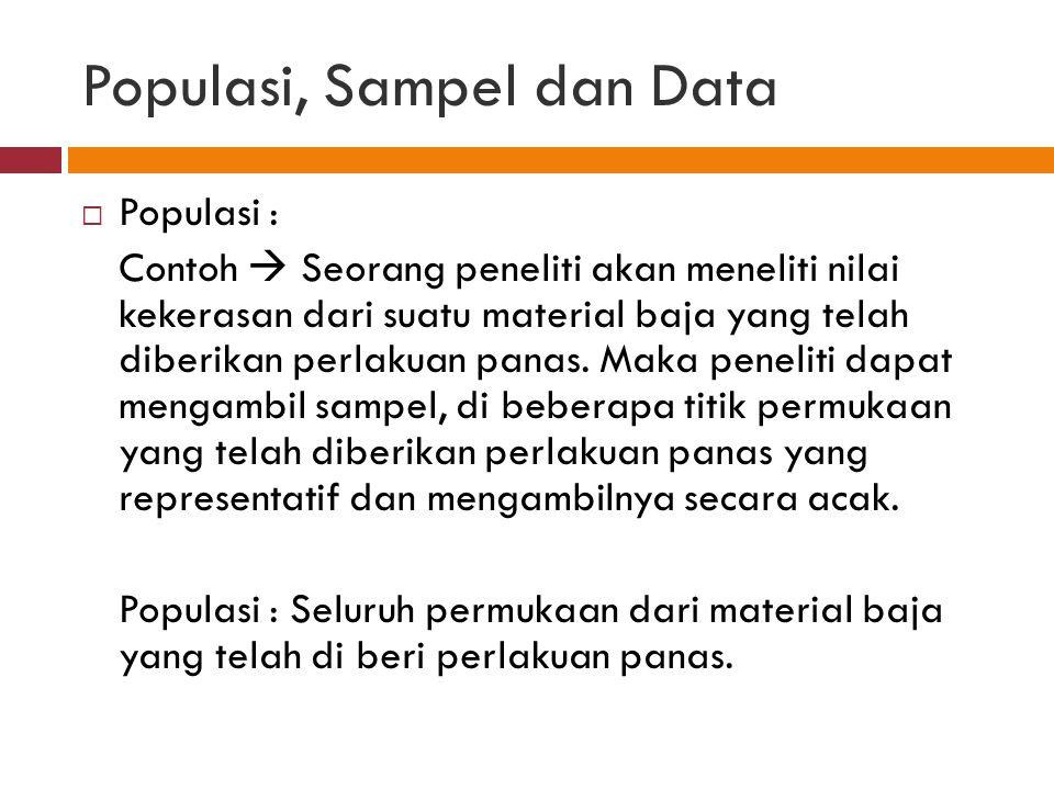 Populasi, Sampel dan Data  Populasi : Contoh  Seorang peneliti akan meneliti nilai kekerasan dari suatu material baja yang telah diberikan perlakuan panas.