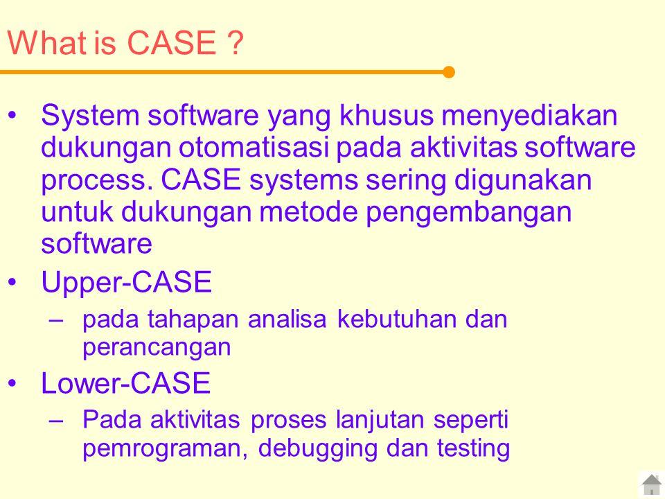 What is CASE ? System software yang khusus menyediakan dukungan otomatisasi pada aktivitas software process. CASE systems sering digunakan untuk dukun