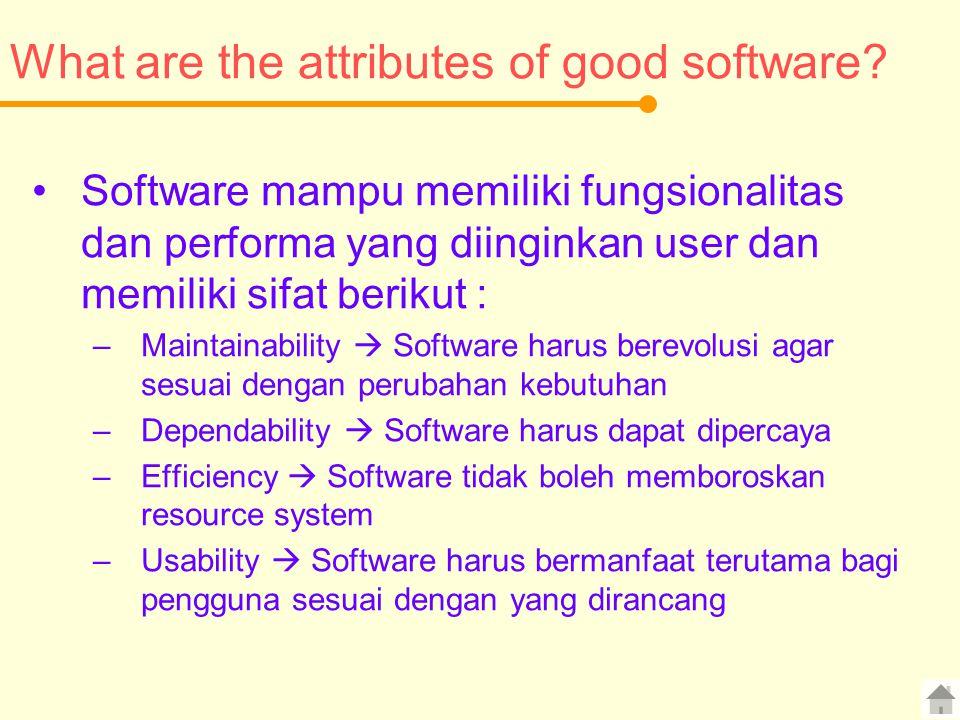 What are the attributes of good software? Software mampu memiliki fungsionalitas dan performa yang diinginkan user dan memiliki sifat berikut : –Maint