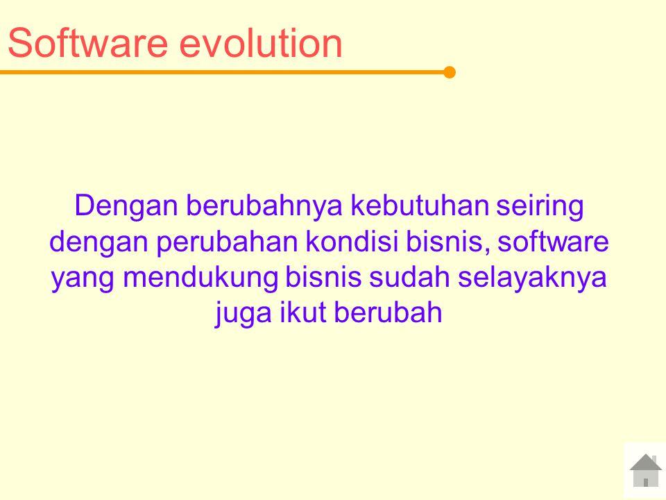 Software evolution Dengan berubahnya kebutuhan seiring dengan perubahan kondisi bisnis, software yang mendukung bisnis sudah selayaknya juga ikut berubah