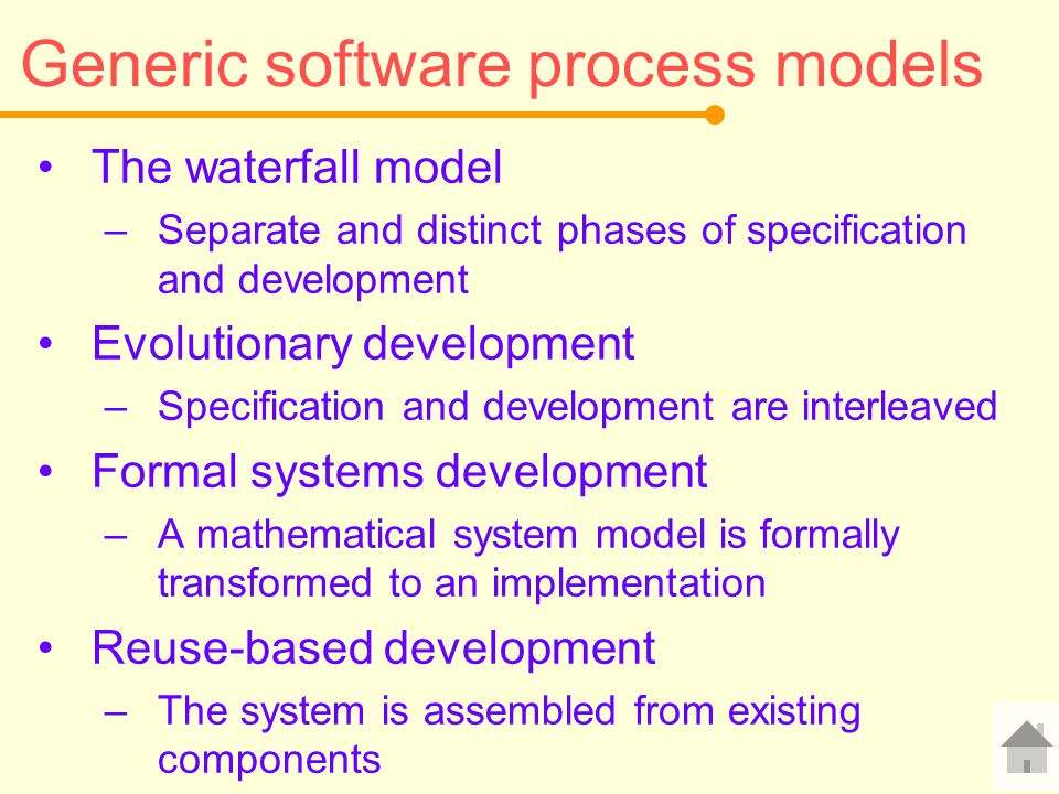 Generic software process models The waterfall model –Separate and distinct phases of specification and development Evolutionary development –Specifica