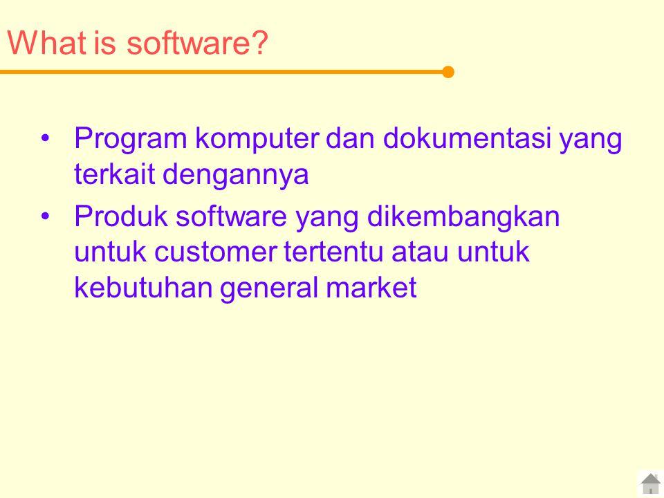 What is software? Program komputer dan dokumentasi yang terkait dengannya Produk software yang dikembangkan untuk customer tertentu atau untuk kebutuh