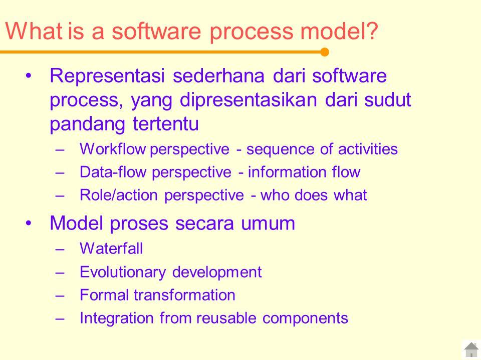 What is a software process model? Representasi sederhana dari software process, yang dipresentasikan dari sudut pandang tertentu –Workflow perspective