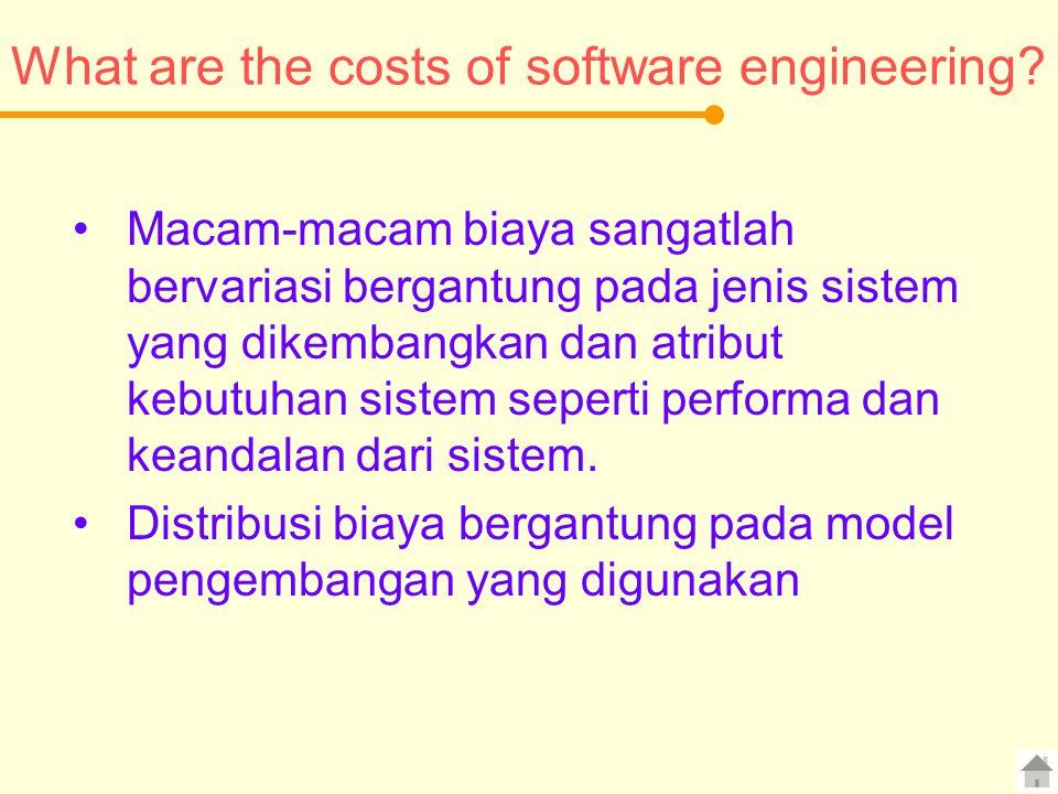 What are the costs of software engineering? Macam-macam biaya sangatlah bervariasi bergantung pada jenis sistem yang dikembangkan dan atribut kebutuha