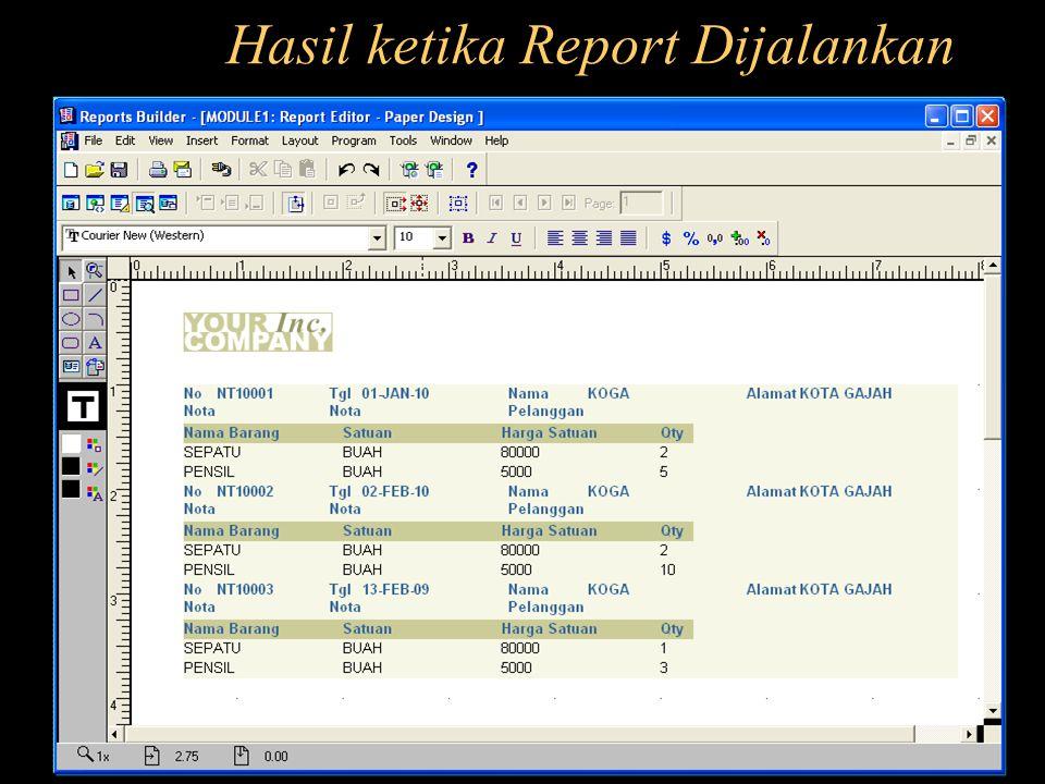 Hasil ketika Report Dijalankan