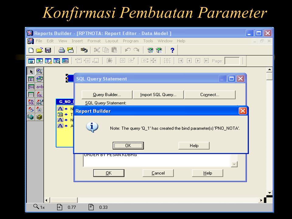 Konfirmasi Pembuatan Parameter