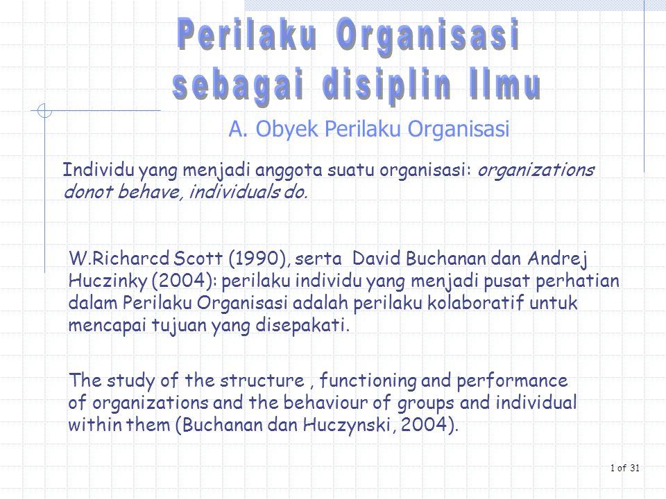 A. Obyek Perilaku Organisasi Individu yang menjadi anggota suatu organisasi: organizations donot behave, individuals do. The study of the structure, f