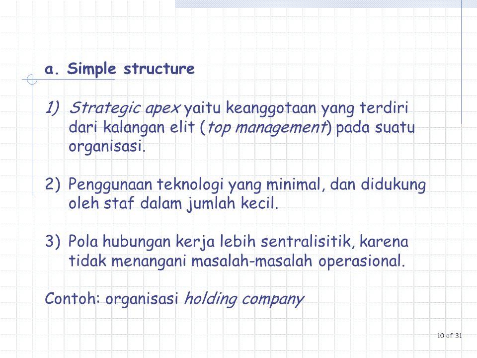 a. Simple structure 1)Strategic apex yaitu keanggotaan yang terdiri dari kalangan elit (top management) pada suatu organisasi. 2)Penggunaan teknologi