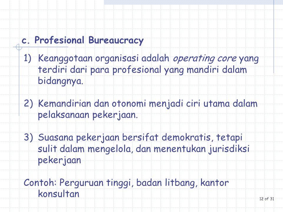 c. Profesional Bureaucracy 1)Keanggotaan organisasi adalah operating core yang terdiri dari para profesional yang mandiri dalam bidangnya. 2)Kemandiri