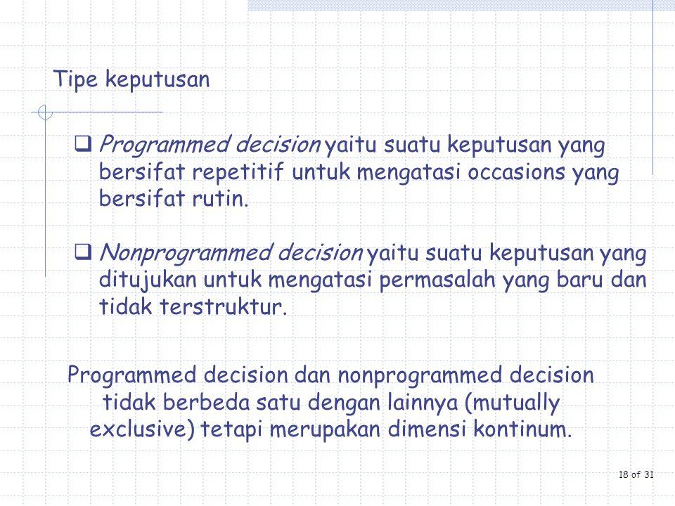 Tipe keputusan  Programmed decision yaitu suatu keputusan yang bersifat repetitif untuk mengatasi occasions yang bersifat rutin.  Nonprogrammed deci