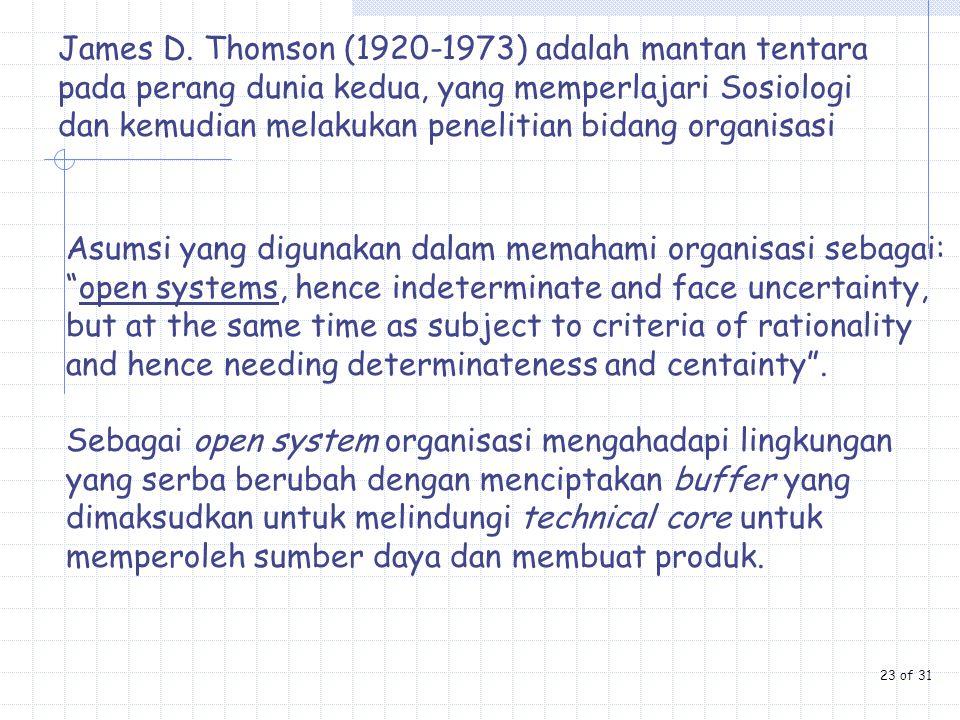 James D. Thomson (1920-1973) adalah mantan tentara pada perang dunia kedua, yang memperlajari Sosiologi dan kemudian melakukan penelitian bidang organ