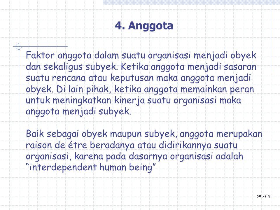 4. Anggota Faktor anggota dalam suatu organisasi menjadi obyek dan sekaligus subyek. Ketika anggota menjadi sasaran suatu rencana atau keputusan maka