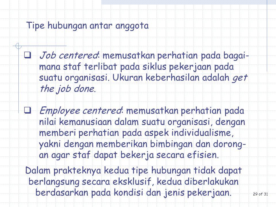 Tipe hubungan antar anggota  Job centered: memusatkan perhatian pada bagai- mana staf terlibat pada siklus pekerjaan pada suatu organisasi. Ukuran ke