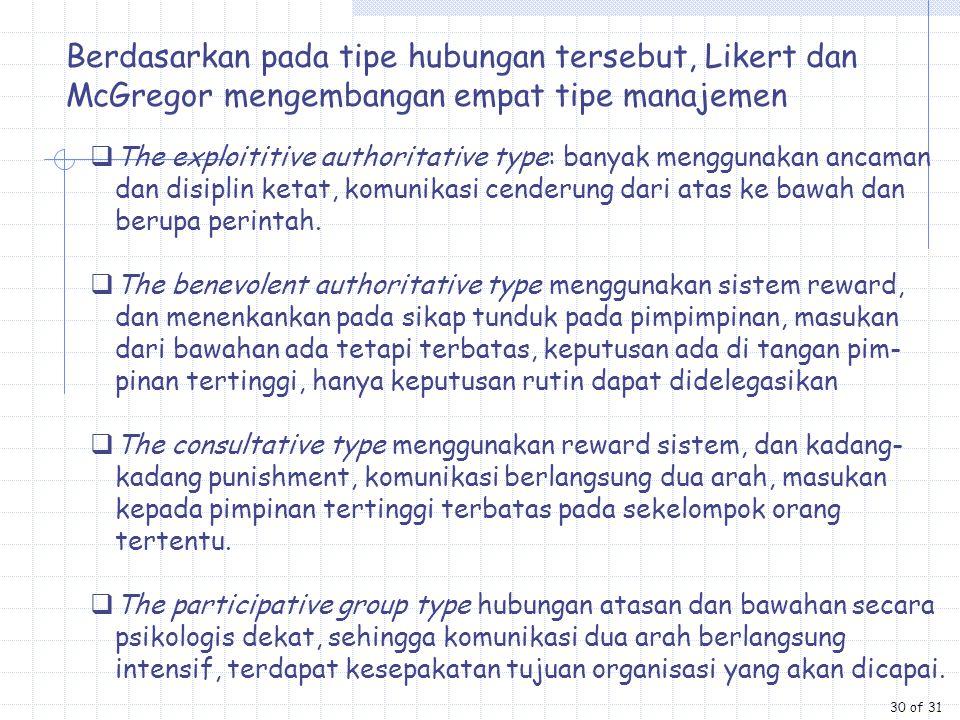 Berdasarkan pada tipe hubungan tersebut, Likert dan McGregor mengembangan empat tipe manajemen  The exploititive authoritative type: banyak menggunak