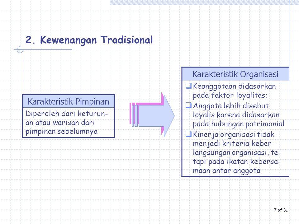 Karakteristik Pimpinan Diperoleh dari keturun- an atau warisan dari pimpinan sebelumnya Karakteristik Organisasi  Keanggotaan didasarkan pada faktor