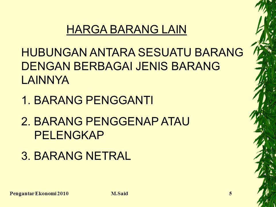 Pengantar Ekonomi 2010M.Said5 HARGA BARANG LAIN HUBUNGAN ANTARA SESUATU BARANG DENGAN BERBAGAI JENIS BARANG LAINNYA 1. BARANG PENGGANTI 2. BARANG PENG