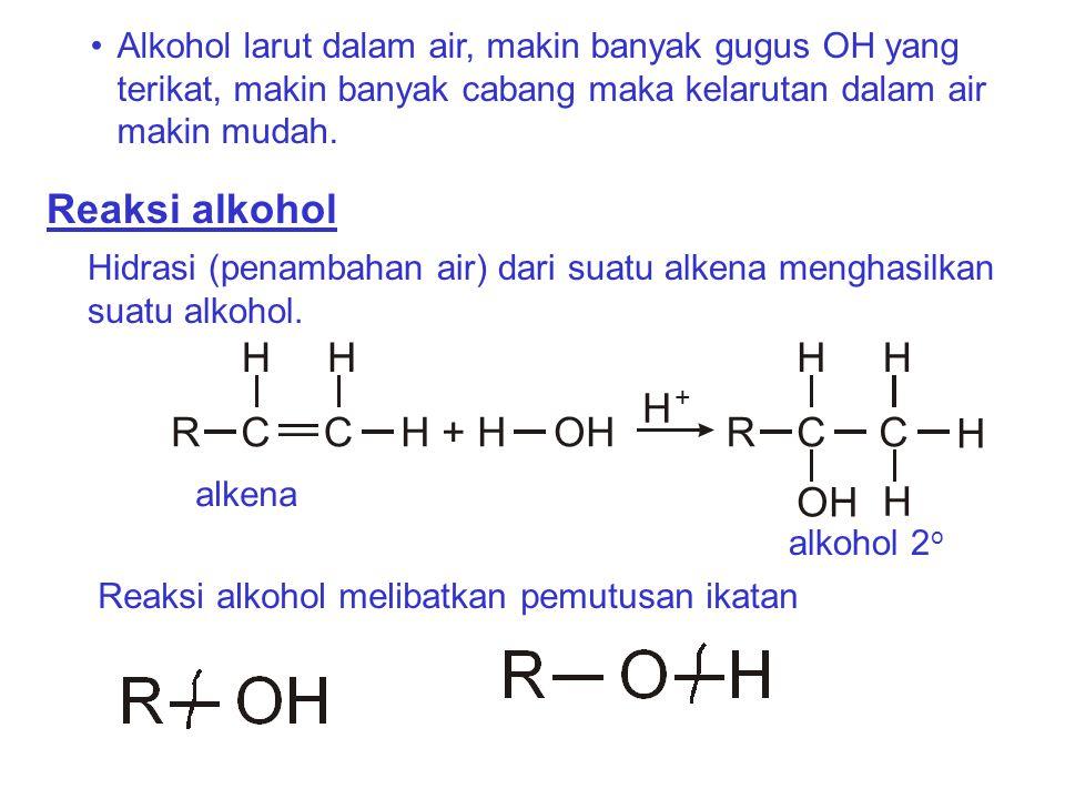 Alkohol larut dalam air, makin banyak gugus OH yang terikat, makin banyak cabang maka kelarutan dalam air makin mudah. Reaksi alkohol Hidrasi (penamba