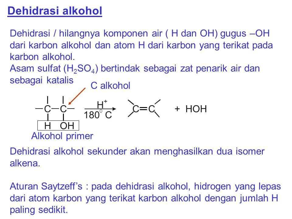 Dehidrasi alkohol Dehidrasi / hilangnya komponen air ( H dan OH) gugus –OH dari karbon alkohol dan atom H dari karbon yang terikat pada karbon alkohol