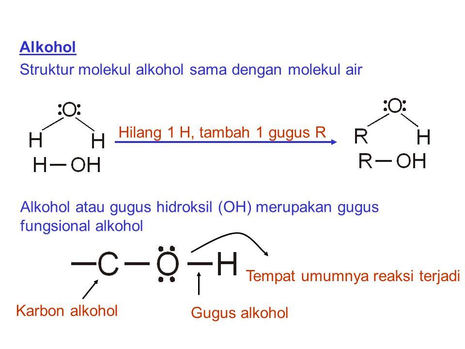 Alkohol Struktur molekul alkohol sama dengan molekul air Alkohol atau gugus hidroksil (OH) merupakan gugus fungsional alkohol Hilang 1 H, tambah 1 gug