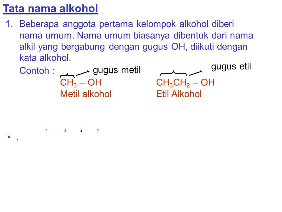 Tata nama alkohol 1.Beberapa anggota pertama kelompok alkohol diberi nama umum. Nama umum biasanya dibentuk dari nama alkil yang bergabung dengan gugu