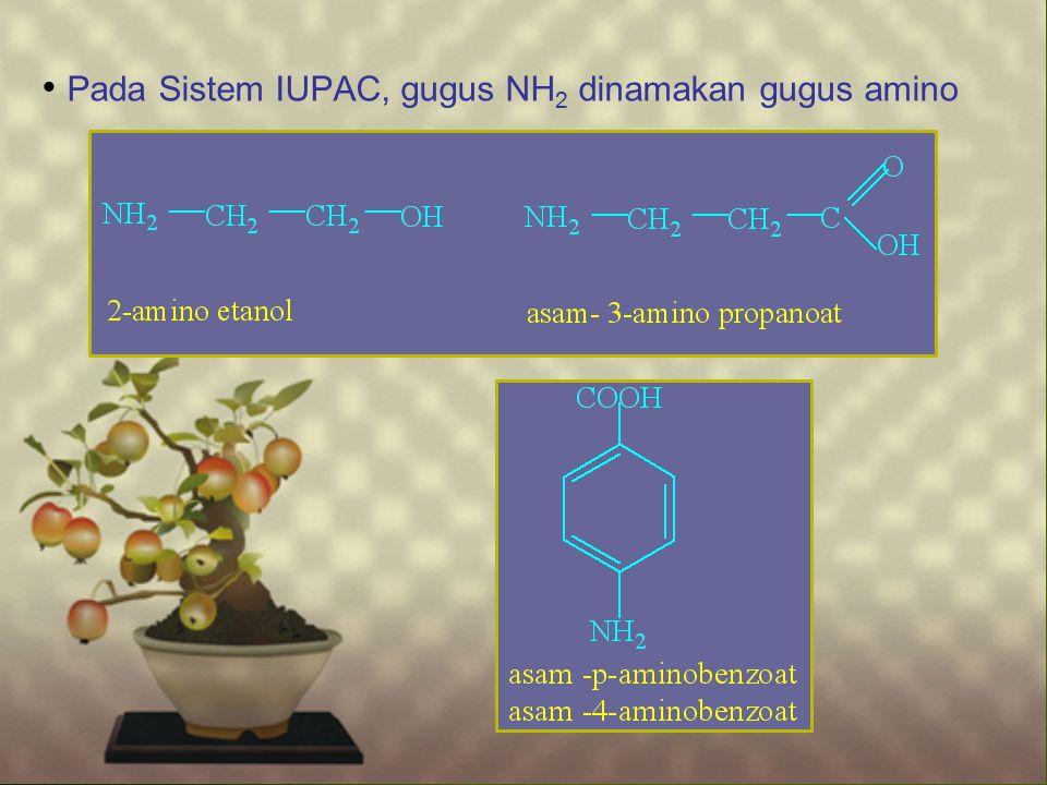 Pada Sistem IUPAC, gugus NH 2 dinamakan gugus amino
