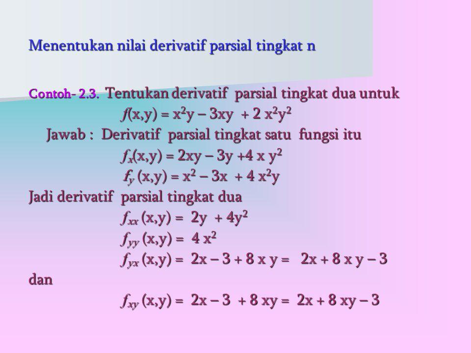 Menentukan nilai derivatif parsial tingkat n Contoh- 2.3.