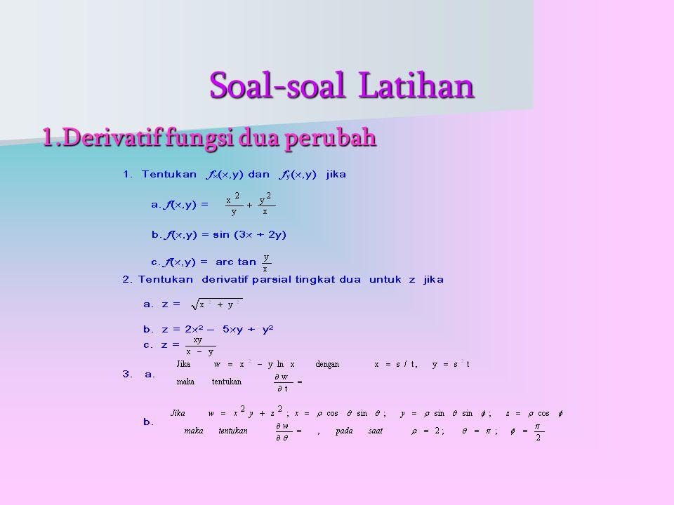 Soal-soal Latihan Soal-soal Latihan 1.Derivatif fungsi dua perubah