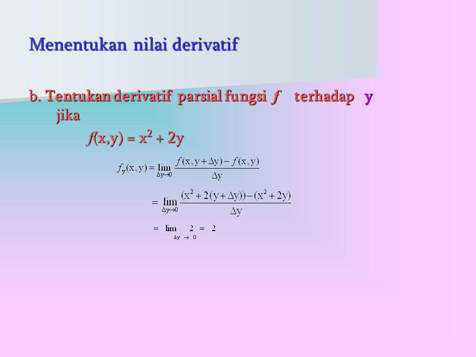 Menentukan nilai derivatif b.
