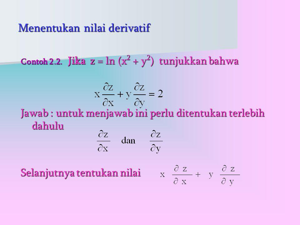 Menentukan nilai derivatif Contoh 2.2.