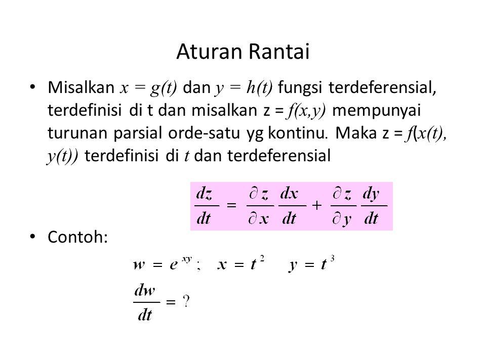Aturan Rantai Misalkan x = g(t) dan y = h(t) fungsi terdeferensial, terdefinisi di t dan misalkan z = f(x,y) mempunyai turunan parsial orde-satu yg ko