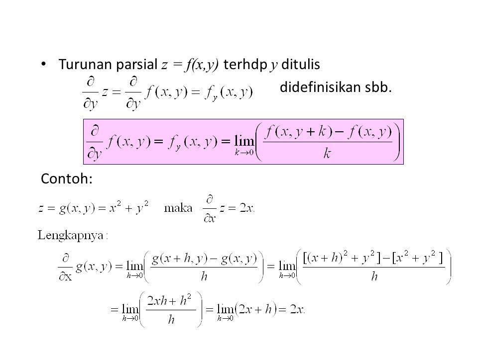 Turunan parsial z = f(x,y) terhdp y ditulis didefinisikan sbb. Contoh: