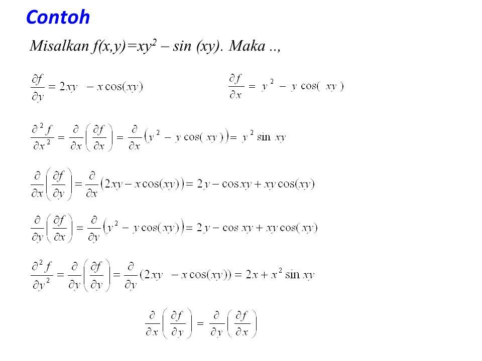 Contoh Misalkan f(x,y)=xy 2 – sin (xy). Maka..,