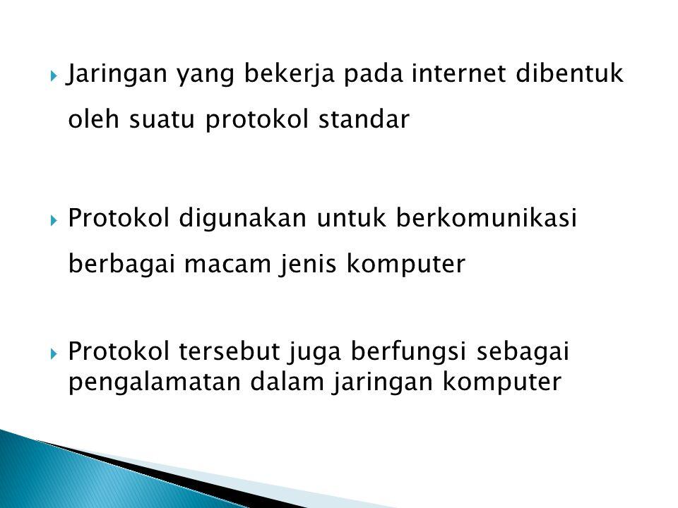  Jaringan yang bekerja pada internet dibentuk oleh suatu protokol standar  Protokol digunakan untuk berkomunikasi berbagai macam jenis komputer  Protokol tersebut juga berfungsi sebagai pengalamatan dalam jaringan komputer