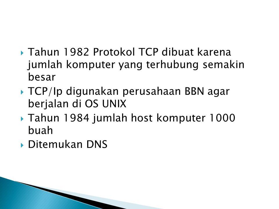  Tahun 1982 Protokol TCP dibuat karena jumlah komputer yang terhubung semakin besar  TCP/Ip digunakan perusahaan BBN agar berjalan di OS UNIX  Tahun 1984 jumlah host komputer 1000 buah  Ditemukan DNS