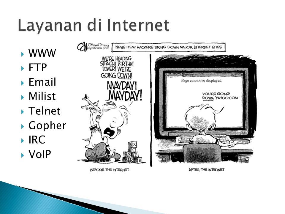  WWW  FTP  Email  Milist  Telnet  Gopher  IRC  VoIP