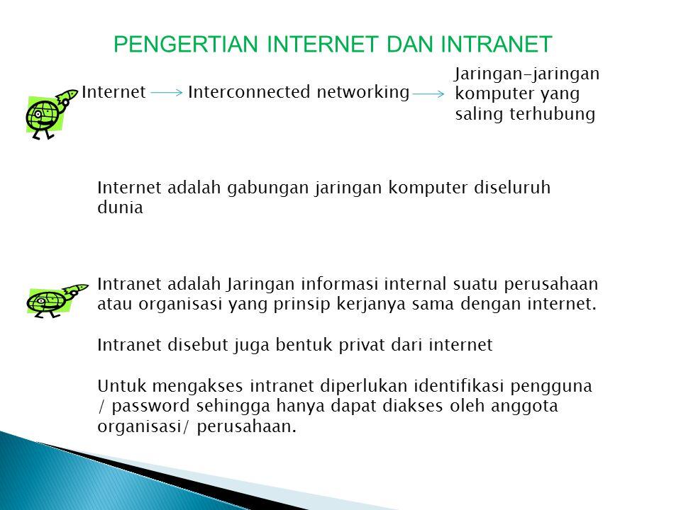 PENGERTIAN INTERNET DAN INTRANET InternetInterconnected networking Jaringan-jaringan komputer yang saling terhubung Internet adalah gabungan jaringan komputer diseluruh dunia Intranet adalah Jaringan informasi internal suatu perusahaan atau organisasi yang prinsip kerjanya sama dengan internet.